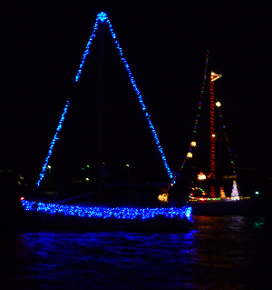 lighted yacht parade blue lights