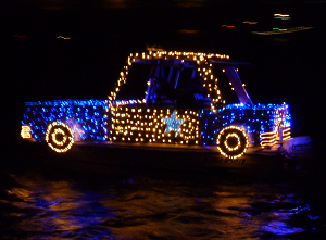 lighted yacht parade police car